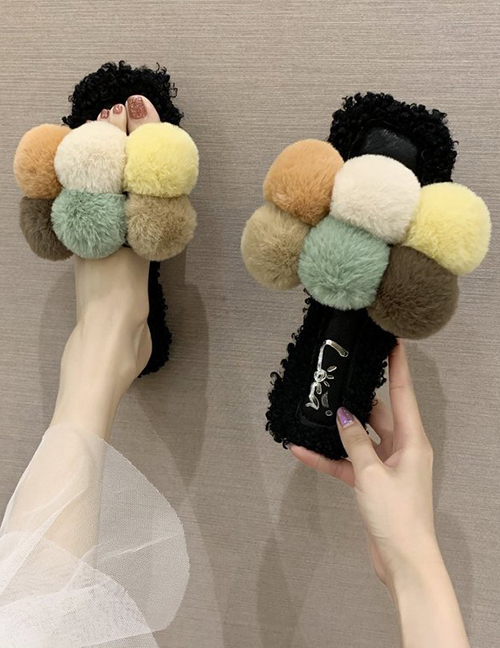 Fashion Beige Contrasting Color Fur Ball Soft Bottom One-word Fur Slippers