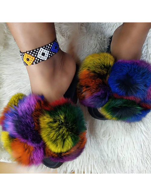 Pantuflas Planas Redondas De Color Furry Ball Hit