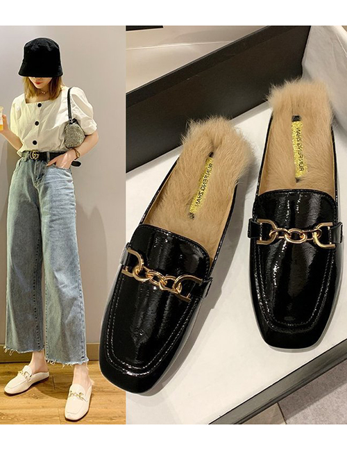 Fashion Creamy-white Square Toe Patent Leather Metal Chain Rabbit Fur Toe Cap Half Slippers