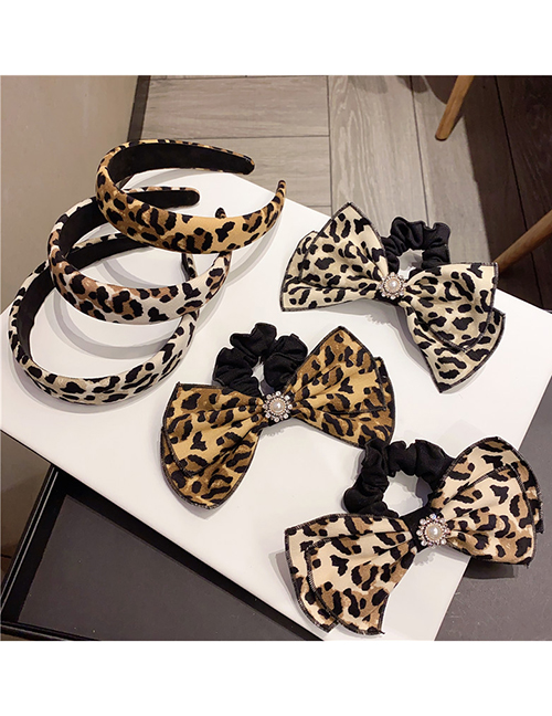Fashion Brown And Yellow Coffee Leopard Print (hair Circle) Leopard Corduroy Wide-brimmed Bow Headband Hair Rope