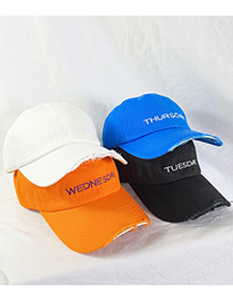 Fashion Orange Baseball Cap With Frayed Edges And Old Letters Embroidery Stitching