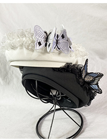 Fashion White Three-dimensional Butterfly Mesh Embroidery Beret