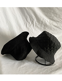 Fashion Black Cotton Wool Double-sided Plaid Solid Color Fisherman Hat