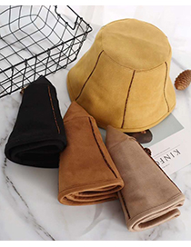 Fashion Camel Stitched Solid Color Fisherman Hat