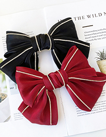 Fashion Red Wine Big Bow Diamond-studded Alloy Fabric Hairpin