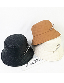 Fashion Beige Down Lightweight Fabric Checked Paperclip Fisherman Hat
