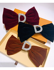 Fashion Coffee Color Rhinestone Letter Bow Hairpin
