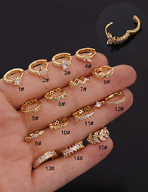 Fashion 15#gold Color Round Geometry Inlaid Zircon Stainless Steel Earrings