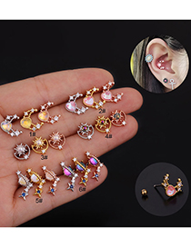 Fashion 6#rose Gold Color Zircon Inlaid Stainless Steel Geometric Earrings