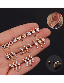 Fashion 8# Rose Gold Color Butterfly Inlaid Zircon Stainless Steel Geometric Earrings