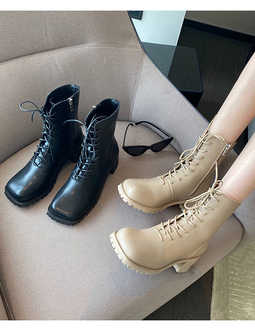 Fashion Apricot Generous Toe Thick Heel Lace-up Boots