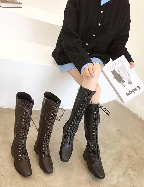 Fashion Black Soft Leather Square Toe Chunky Heel Strap Flat Boots