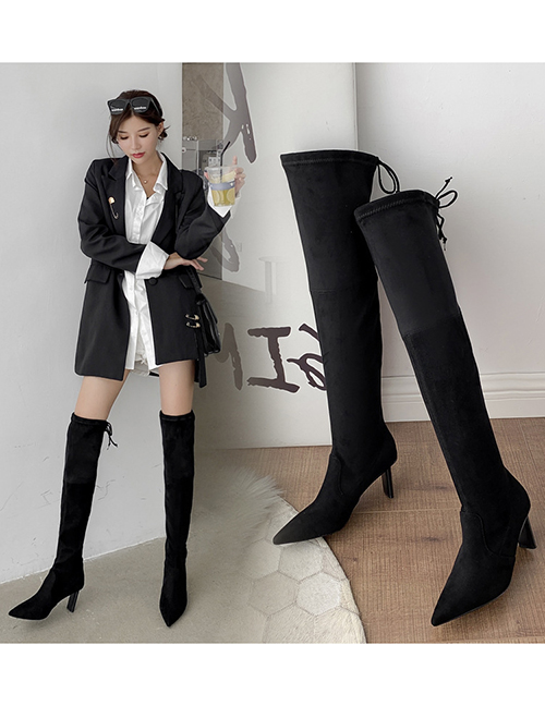 Fashion Black Suede High-heeled Stretch-pointed Stiletto Boots
