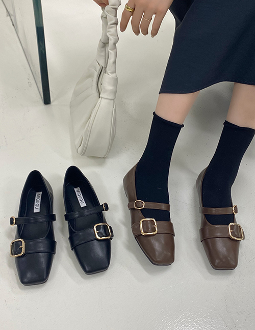 Fashion Brown Square-toe Soft Sole Single Buckle Shoes
