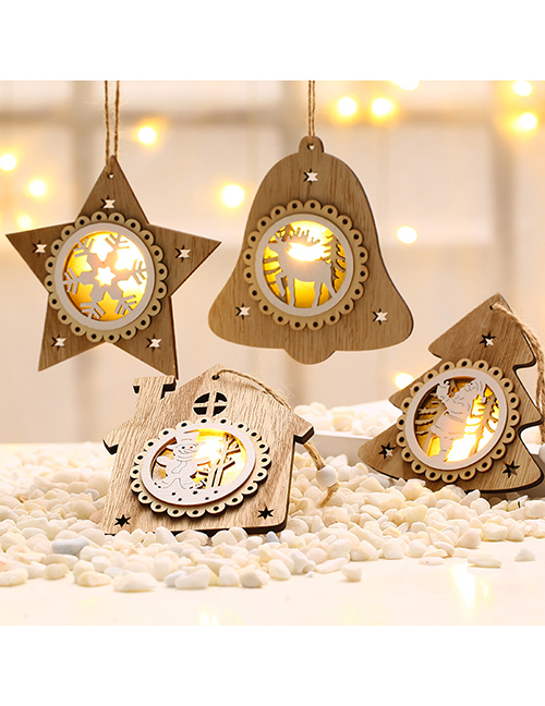 Fashion Snowflake Wooden Glowing Santa Claus Christmas Tree Pendant With Battery