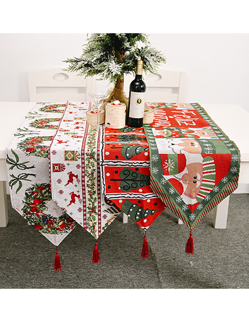 Fashion Garland Santa Claus Elk Garland Printed Family Knitted Fabric Table Banner