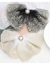 Fashion Black Imitation Pearl Lace Cotton Thread Woven Flower Big Bow Hairpin