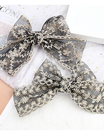 Fashion Snowflake Lace Cotton Woven Flower Big Bow Hairpin