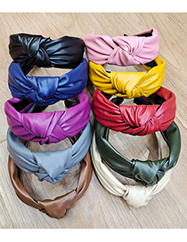 Fashion Armygreen Pu Knotted Solid Color Cloth Wide Brim Headband