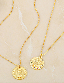 Fashion Round Diamond 18k Gold Plated Virgin Portrait Gold Coin Medal Pendant Necklace
