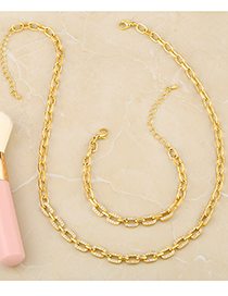 Fashion Gold Color 82 Bracelet Gold-plated Geometric Necklace With Diamond Thick Chain