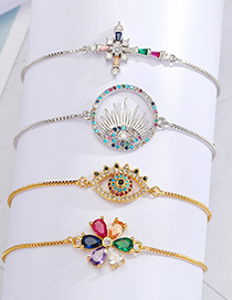 Fashion Gold Color Color Eyelashes Adjustable Bracelet With Zircon Eyes And Flowers Cross