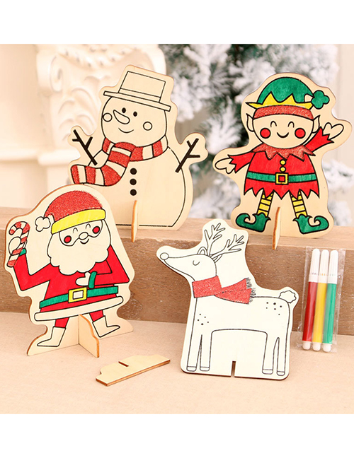 Fashion Elves Elderly Snowman Elk Christmas Wooden Decoration Drawing