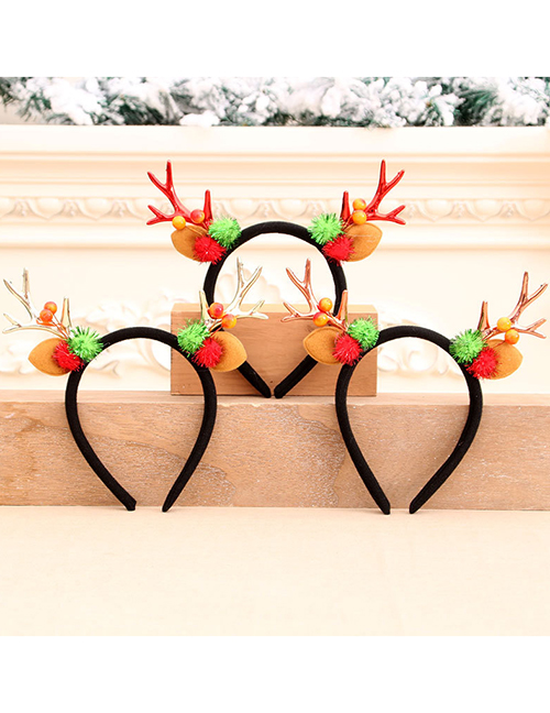 Fashion Bronze Antlers Contrast Color Fabric Christmas Headband