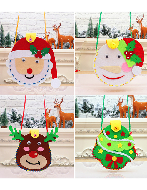 Fashion Senior Santa Snowflake Childrens Handmade Puzzle Candy Bag Material Package