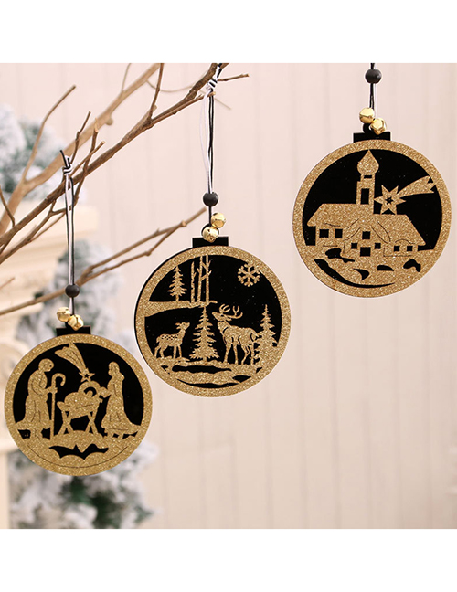 Fashion Deer Round Wooden Hollow Three-dimensional Window Door Hanging