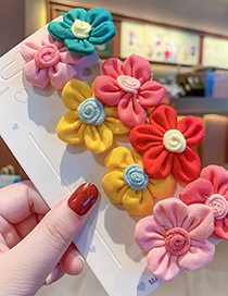 Fashion Red And Yellow Flowers [hair Rope] Flower Fabric Contrast Color Alloy Childrens Hairpin Hair Rope Set