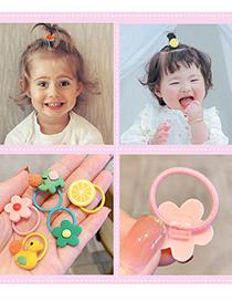 Fashion Little Flower Bee [20 Piece Set] Animal Flower Fruit Rainbow Resin Baby Hair Rope Set