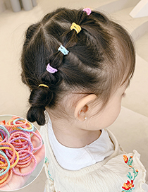 Fashion Simple Green 100 Pieces Contrasting Thread Elastic Childrens Hair Rope Set