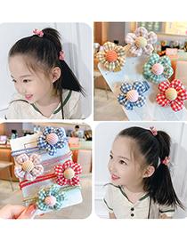 Fashion Burgundy Plaid【hairpin】 Flower Lattice Fabric Alloy Childrens Hairpin Hair Rope