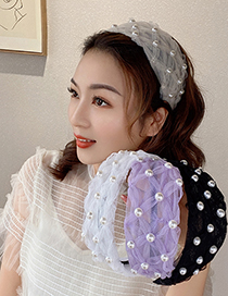 Fashion Pink Broad-brimmed Headband With Pearl Mesh And Lace
