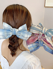 Fashion Purple Plaid Fabric Alloy Bow Hairpin