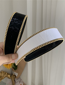 Fashion Black Wide Leather Chain Edging Headband