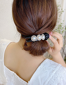 Fashion Champagne Pearl And Diamond Round Resin Shark Clip