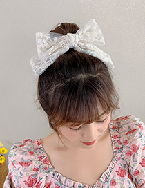 Fashion White Lace Hair Clip Lace Bow Embroidered Flower Alloy Hairpin