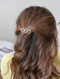 Fashion Love Pearl Love Alloy Hollow Hairpin
