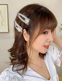 Fashion White Love Pearl Love Letter Crystal Alloy Hairpin