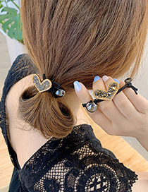 Fashion Gray Diamond-studded Crystal Love Knotted Elastic Hair Rope