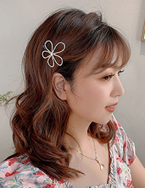 Fashion Colorful Flower Rhinestone Hairpin Diamond Flower Alloy Hollow Hairpin