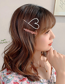 Fashion Love Hairpin Diamond Heart Crystal Square Alloy Hairpin Set