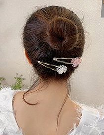 Fashion White Flower Hairpin Crystal Diamond Flower Alloy Hollow Hairpin