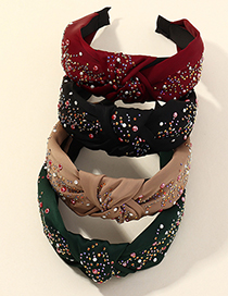 Fashion Green Broad-brimmed Headband With Diamond And Knotted Fabric