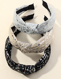 Fashion Black Sequined Fabric Knotted Wide-brimmed Headband