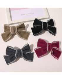 Fashion Camel Plush Bow Knitted Contrast Hairpin