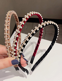 Fashion Red Wine Gold Velvet Pearl And Diamond Winding Headband