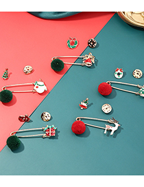 Fashion Gift Alloy Drip Oil Elk Christmas Tree Bell Brooch Set